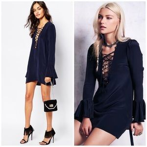 STONE COLD FOX BLUE SILK LACE UP DRESS FREE PEOPLE